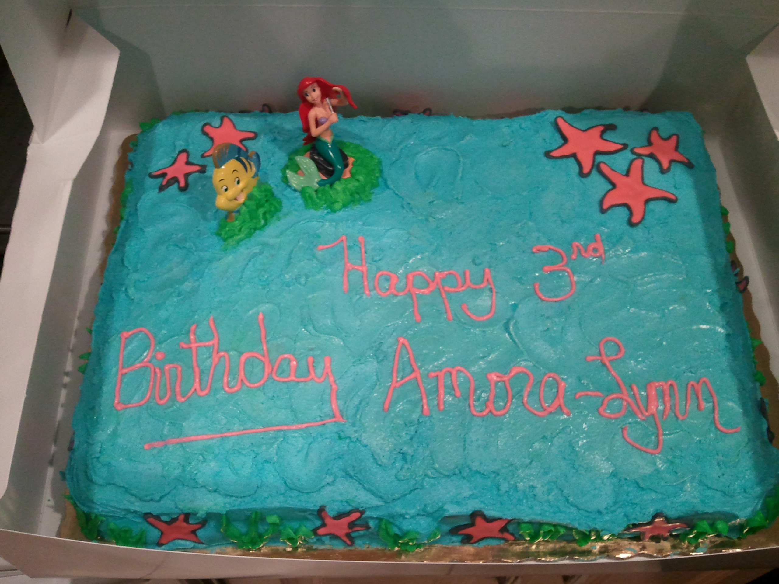 Little Mermaid Birthday Cake Topped With Sprinkles